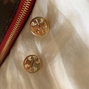 Tory Burch Iconic Classic Gold Stud earrings.